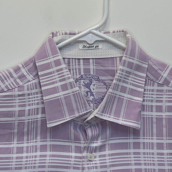 Bugatchi Mens Checked Flip Cuff Shirt Purple Large