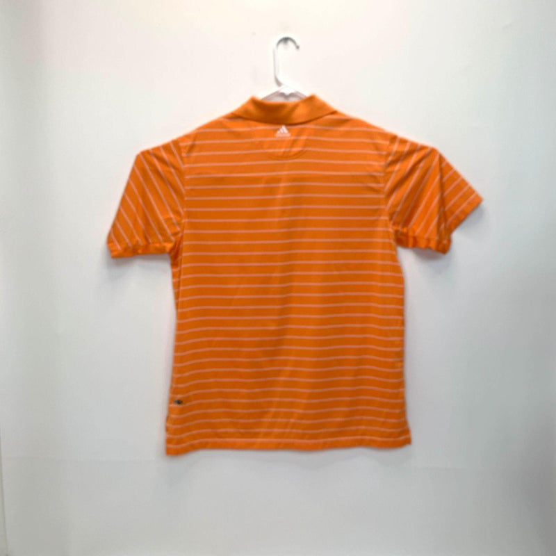 Adidas Climacool Mens Striped Golf Polo Orange Large