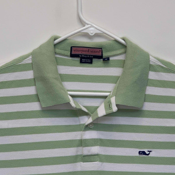 Vineyard Vines Mens Striped Golf Polo Green Medium