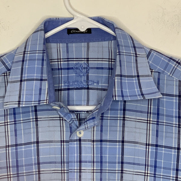 Bugatchi Uomo Mens Designer Flip Cuff Shirt LS Blue Checked Medium