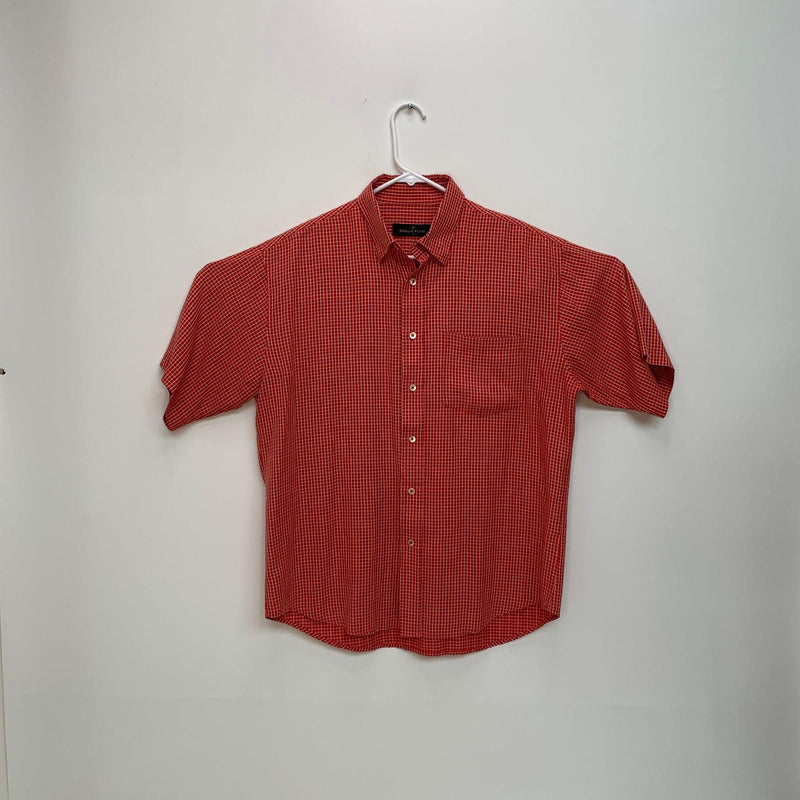 Bugatchi Mens Checked Shirt Red Large