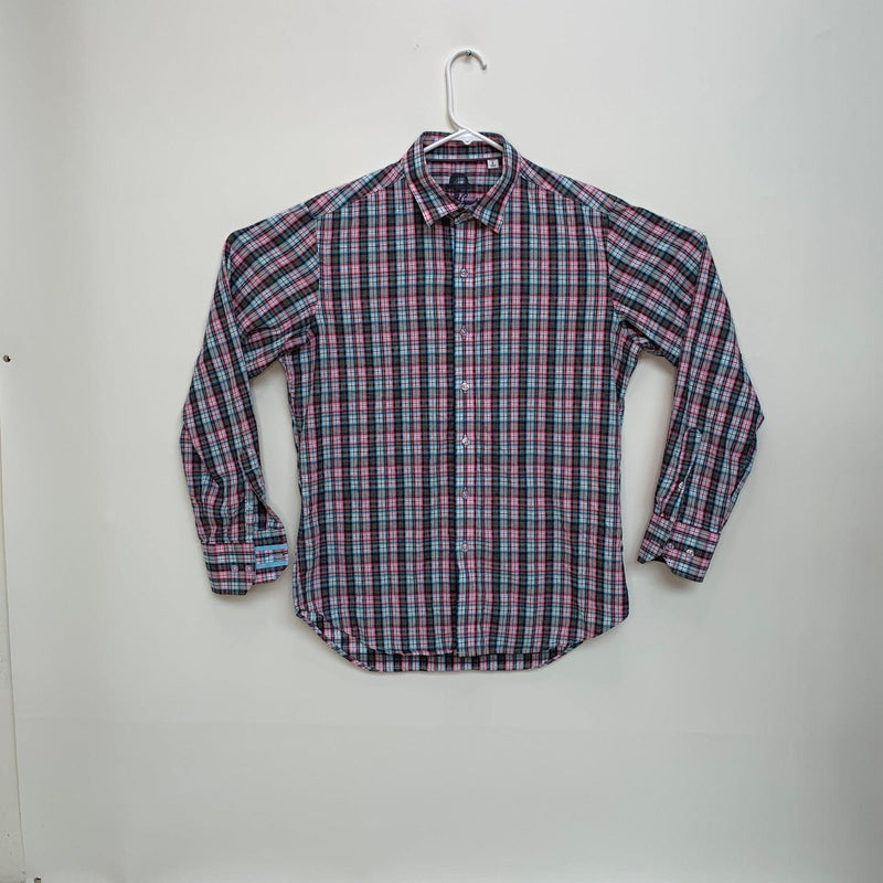 Robert Graham Mens Checked Flip Cuff Shirt Small
