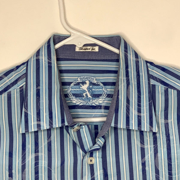 Bugatchi Uomo Mens Designer Flip Cuff Shirt Blue Striped XL