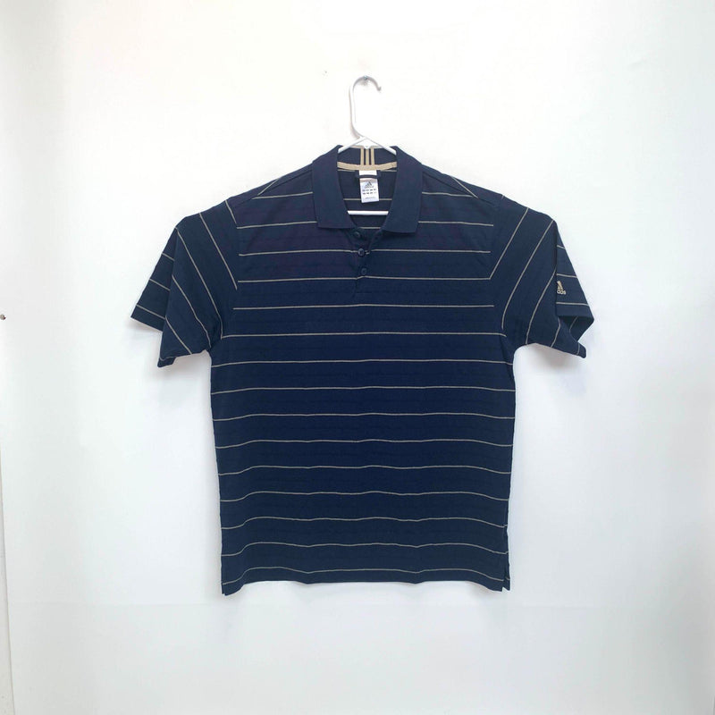 Adidas Mens Striped Golf Polo Blue Large