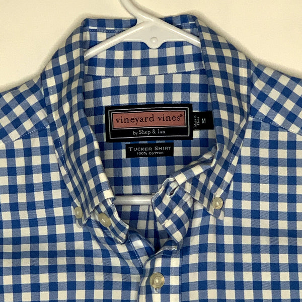 Vineyard Vines Mens Slim Fit Tucker Shirt Blue White Medium