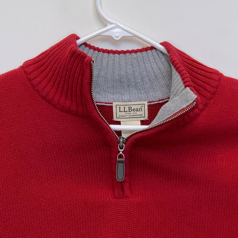 L.L.Bean Mens 1/4 Zip Pullover Red Large