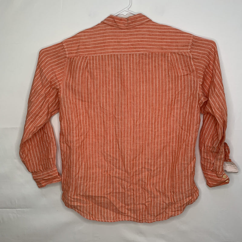 Tommy Bahama Mens Designer Linen Shirt Orange Striped Large