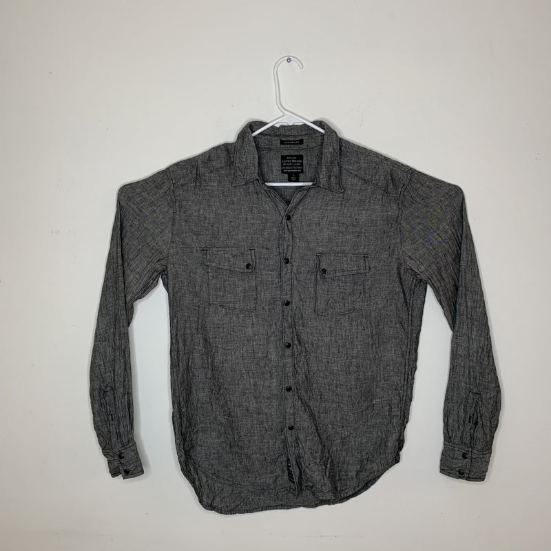 Lucky Brand Black Label Mens Designer Shirt Gray Pearl Snap Large