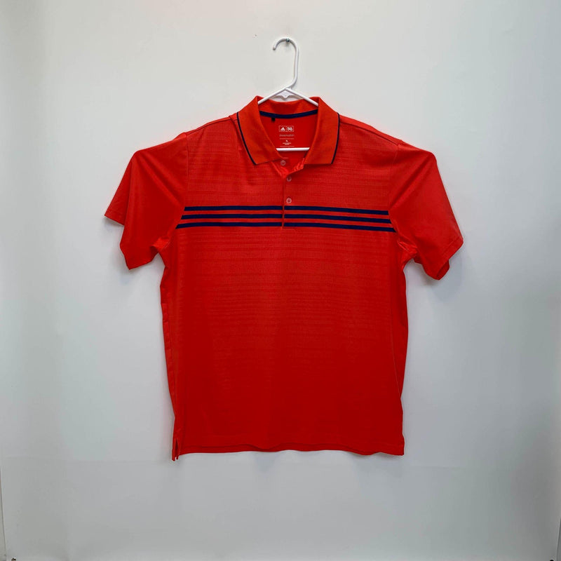 Adidas Mens Striped Golf Polo Orange XL