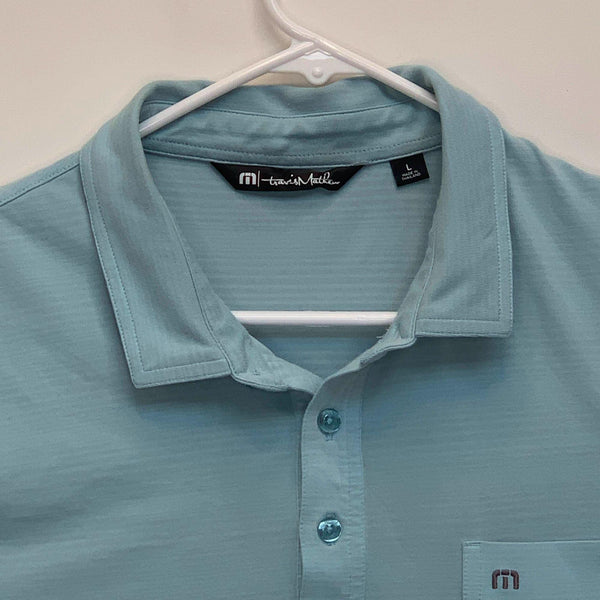Travis Mathew Mens Golf Polo Teal Large