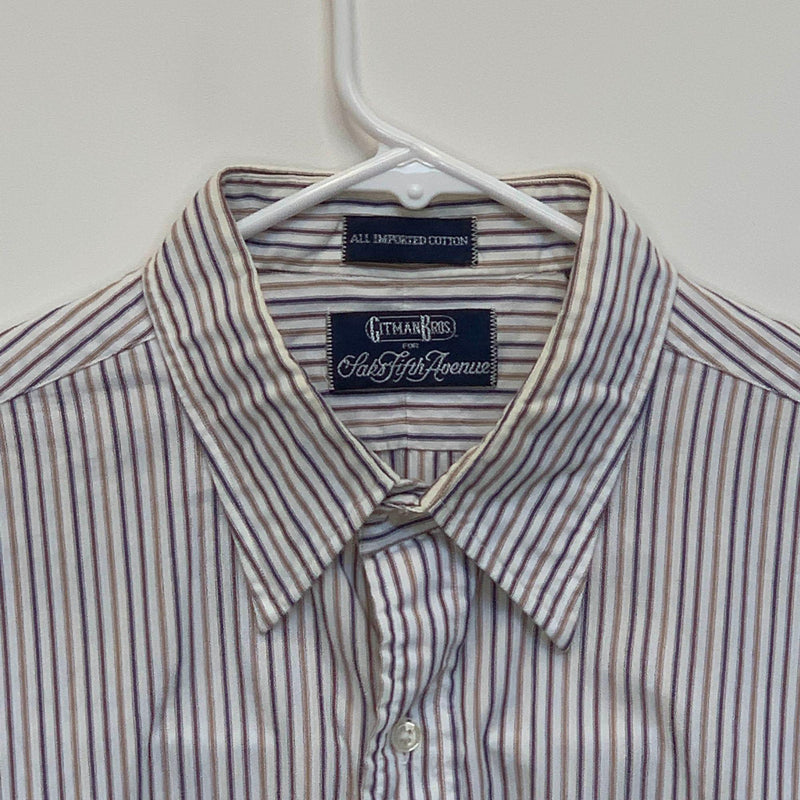 Gitman Bros Mens Striped Shirt Multicolor Size 16.5