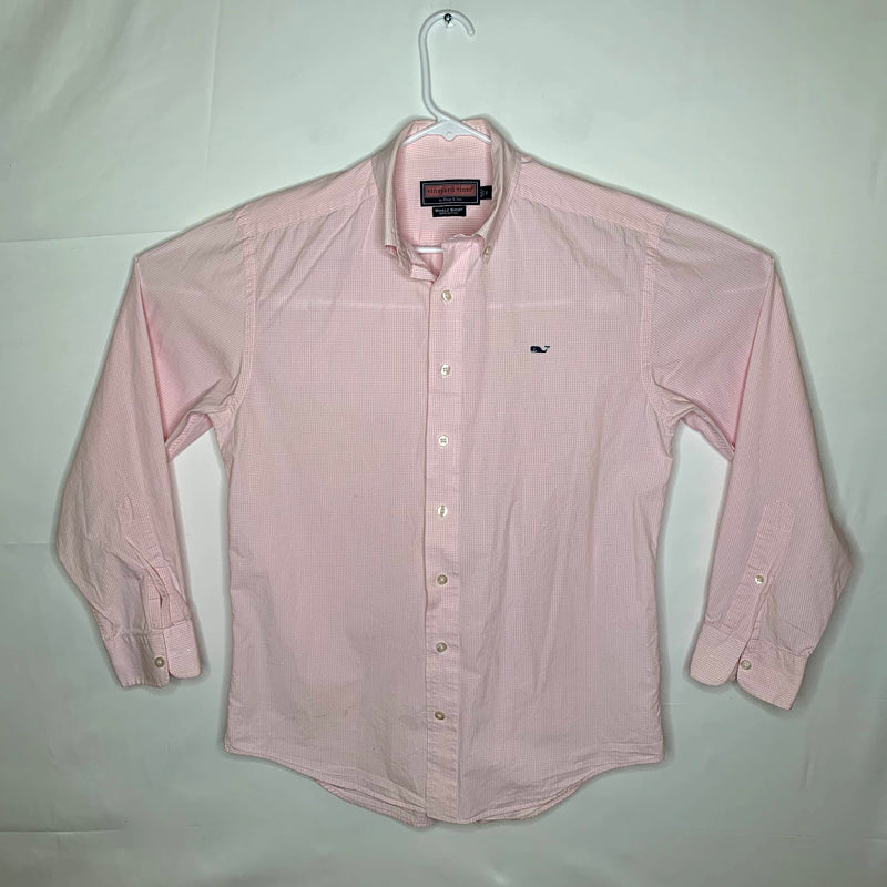 Vineyard Vines Mens Whale Shirt Checked Pink White Small