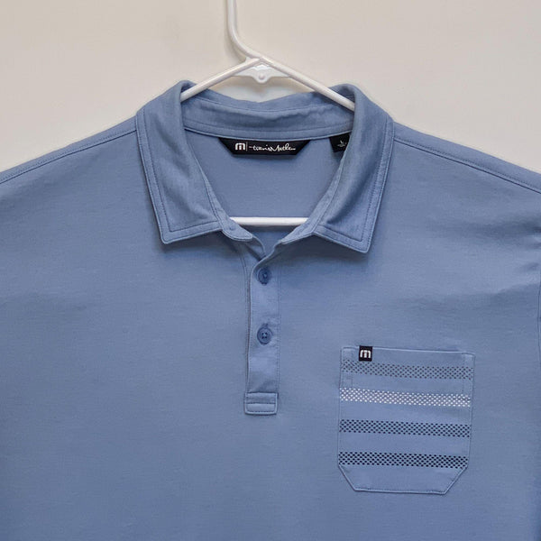 Travis Mathew Mens Golf Polo Blue Large