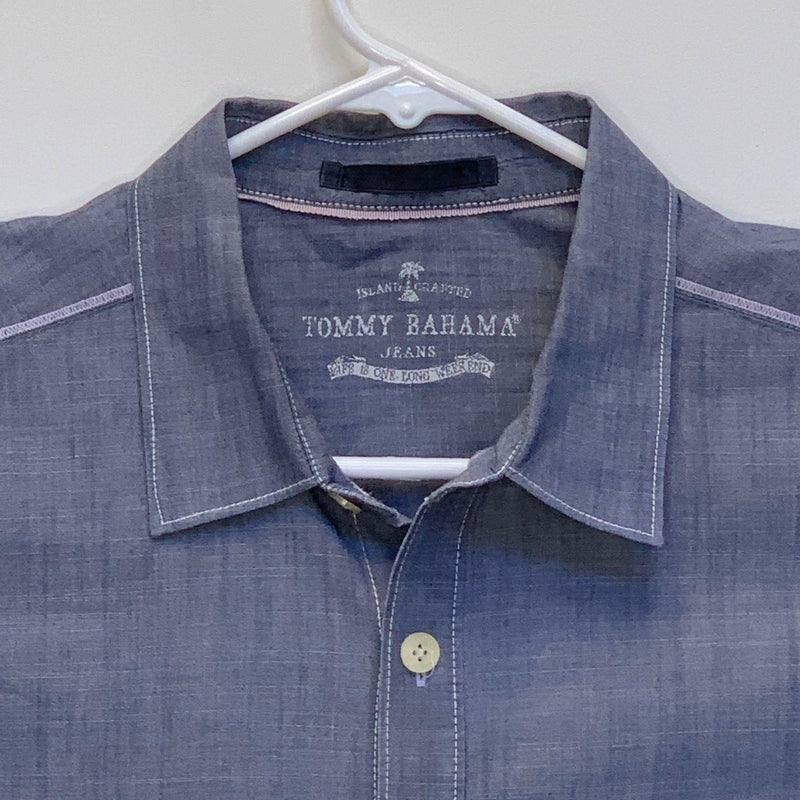 Tommy Bahama Jeans Mens Designer Shirt Blue Large