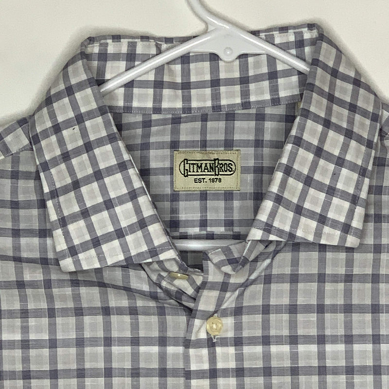 Gitman Bros Mens Designer Shirt White Purple Checks 2XL