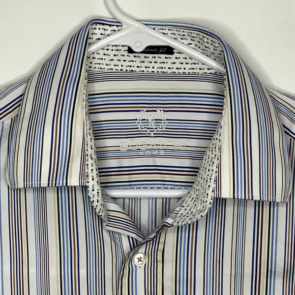 Bugatchi Uomo Mens Designer Flip Cuff Shirt Striped Large
