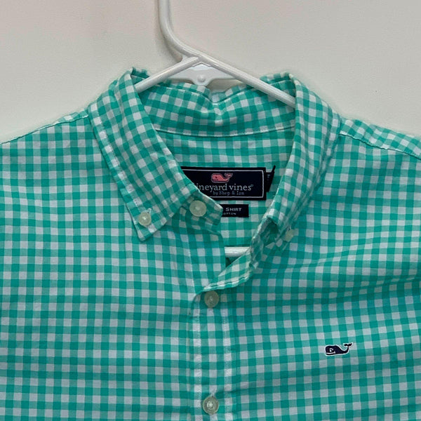 Vineyard Vines Boys Checked Whale Shirt Green Large