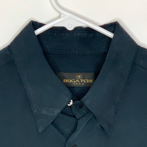 Bugatchi Mens Designer Shirt Black Medium