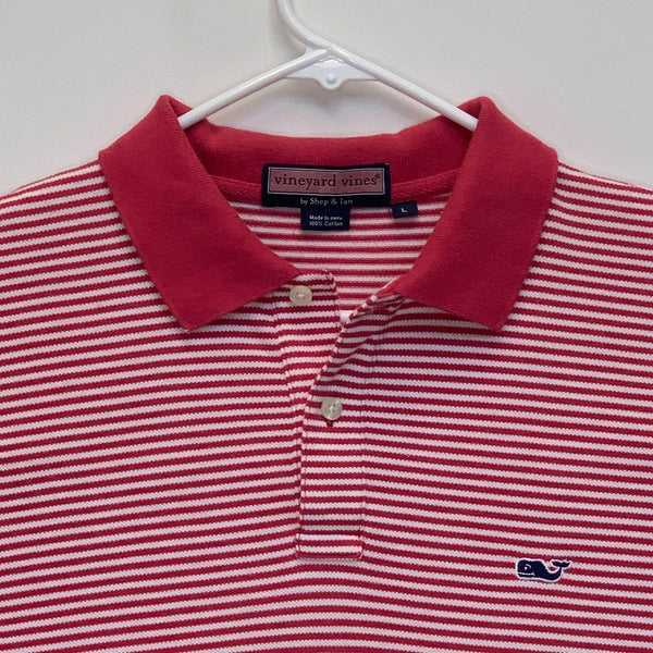 Vineyard Vines Mens Striped Golf Polo Pink Large