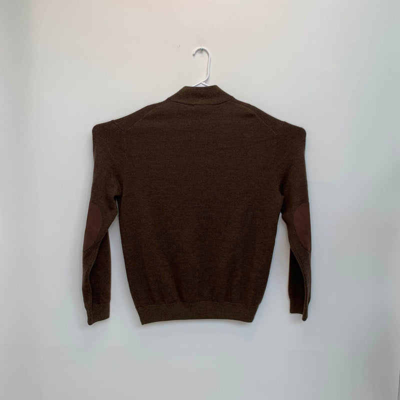 Bugatchi Mens Elbow Patch Wool Pullover Brown Large
