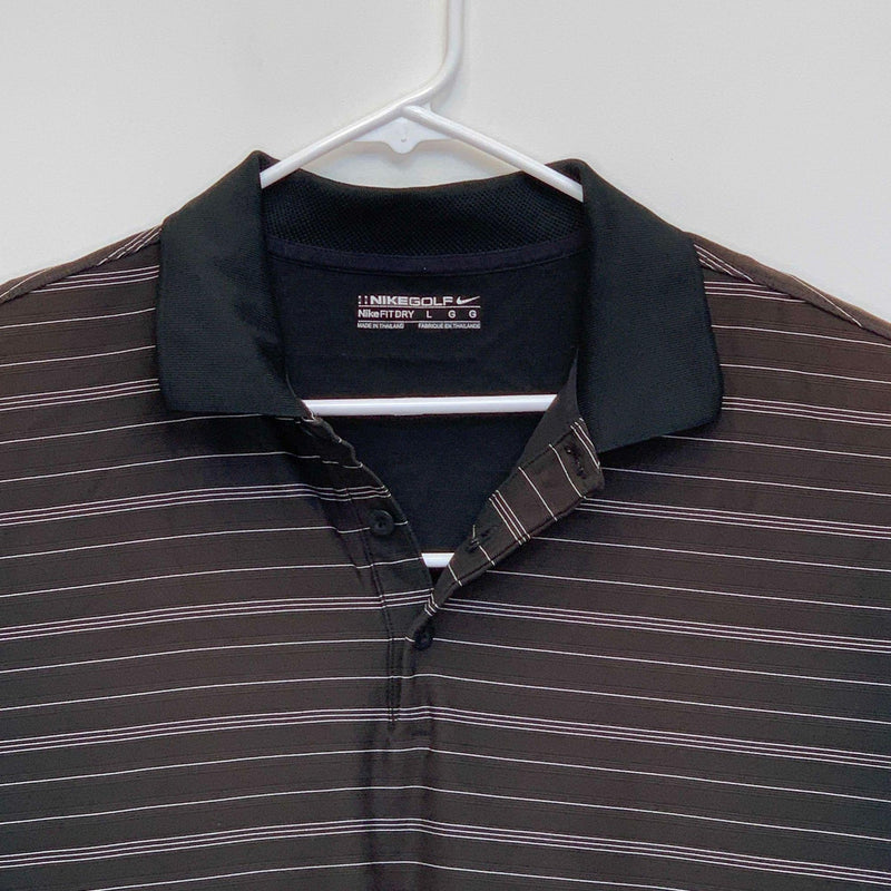 Nike Golf Mens Striped Golf Polo Black Large