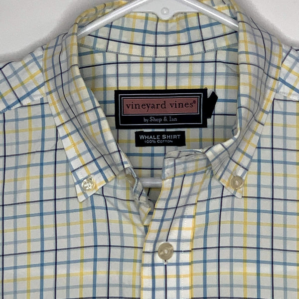 Vineyard Vines Mens Whale Shirt Checked Yellow White Medium