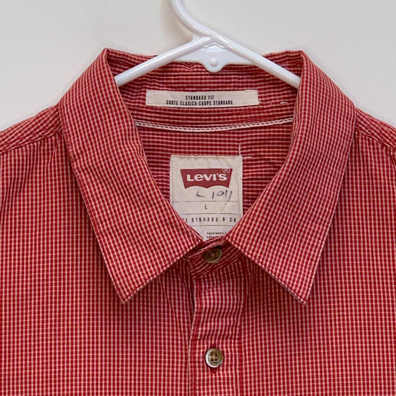 Levi's Mens Checked Flip Cuff Shirt Red Large