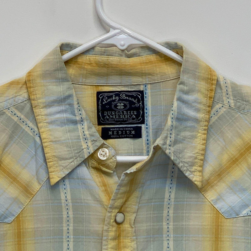 Lucky Brand Mens Plaid Pearl Snap Shirt Multicolor Medium