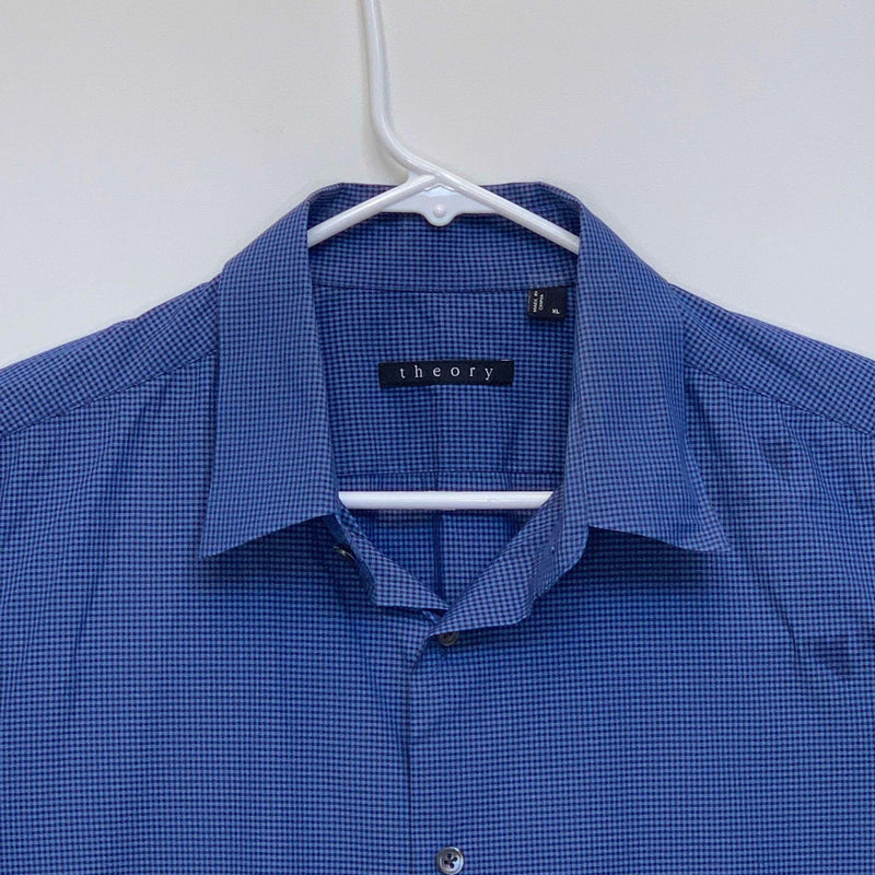 Theory Mens Checked Shirt Blue XL
