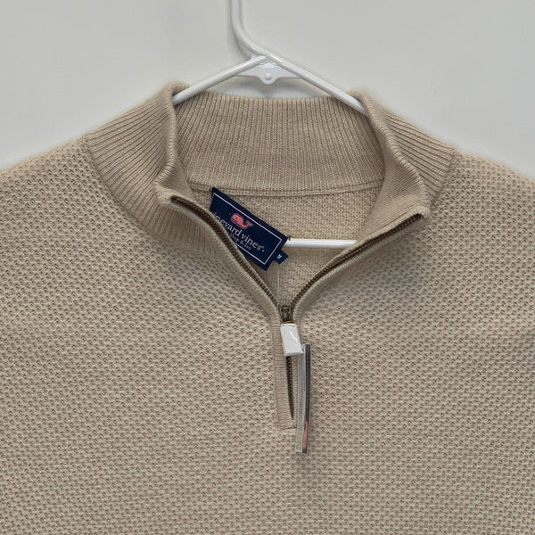 Vineyard Vines Mens 1/4 Zip Pullover Cream Medium NWT