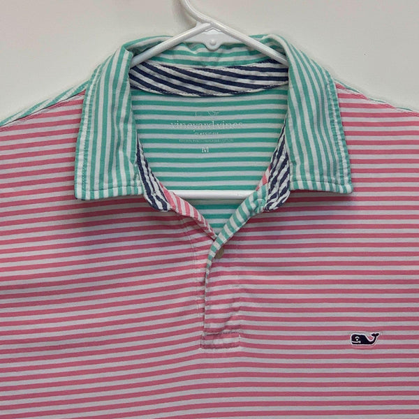 Vineyard Vines Mens Striped Golf Polo Pink Medium