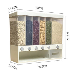 Wall Mounted Divided Rice and Cereal Dispenser