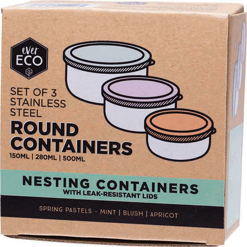 Stainless Steel Round Containers Set of 3 Round - Leak Resistant