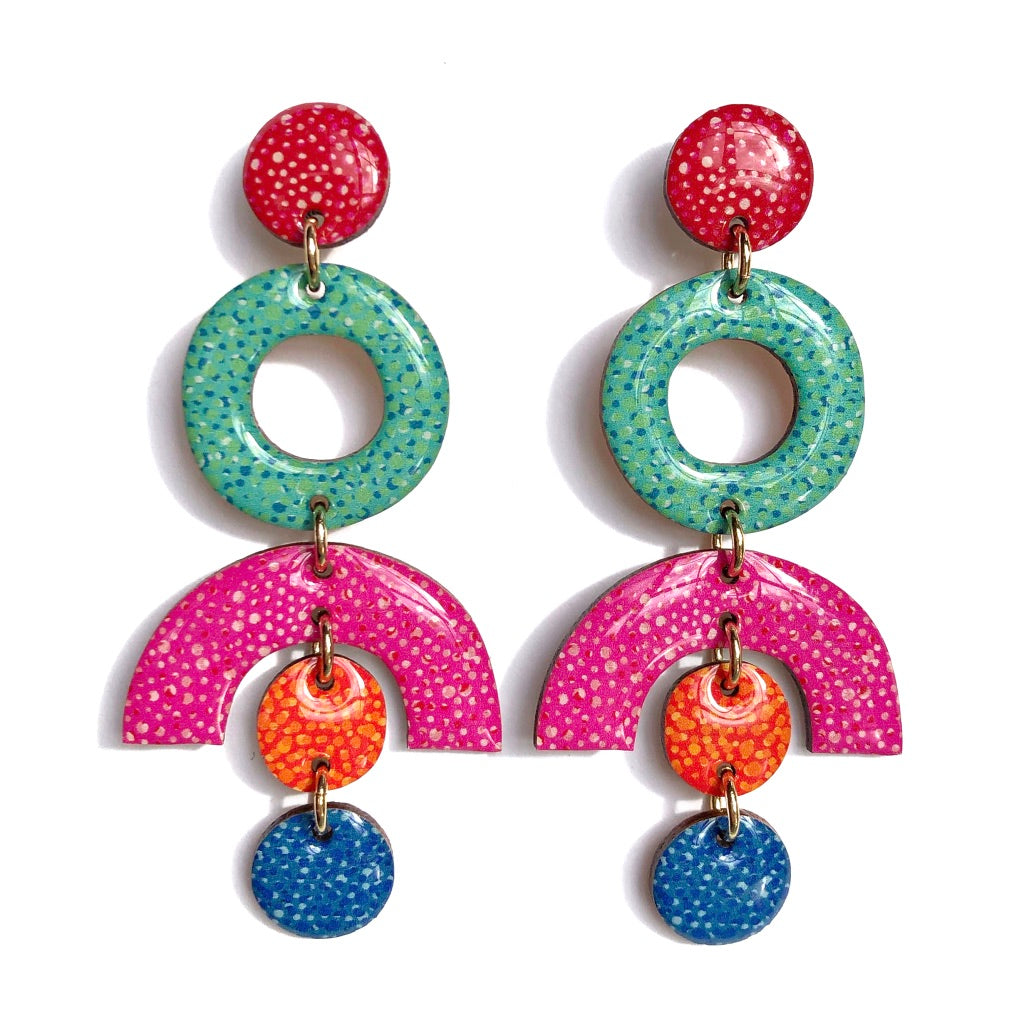 SPECKLE Statement Earrings in Pink Multi