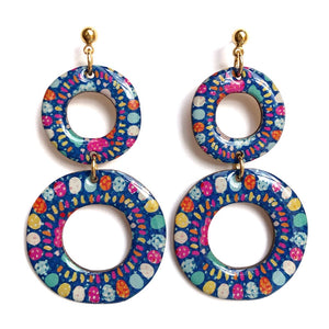 SPRINKLE Double Hoops in Blue