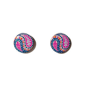 PAISLEY Studs in Blue & Pink
