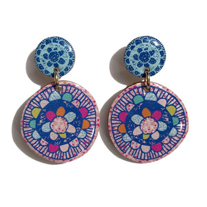 BLOSSOM Earrings in Coral/ Blue