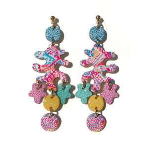Coral Statement Earrings Pink Multi