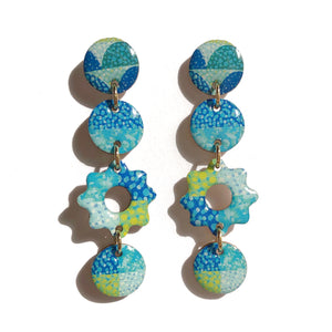 SPECKLE Flower Drops in Blue/ Green