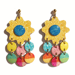 CHROMA Flower Statement Earrings in Yellow