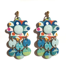 Load image into Gallery viewer, CHROMA Flower Statement Earrings in Blue/ Green