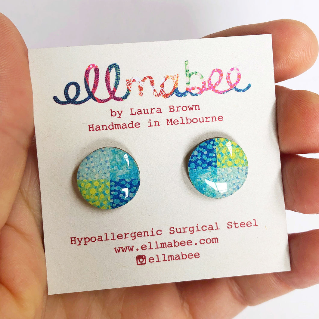 SPECKLE Studs in Blue