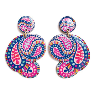 PAISLEY Statement Earrings in Pink