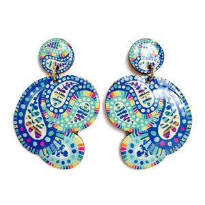 PAISLEY Statement Earrings in Blue