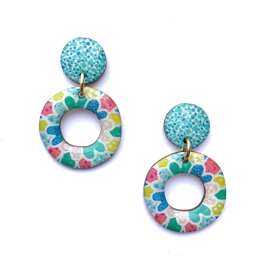 MOSAIC Mini Hoops in Aqua