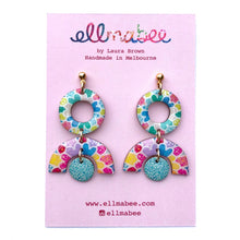 Load image into Gallery viewer, MOSAIC Small Statement Earrings Aqua