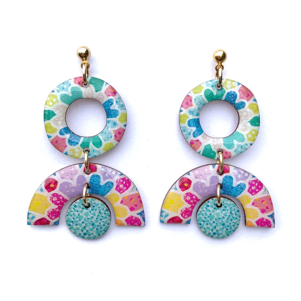 MOSAIC Small Statement Earrings Aqua