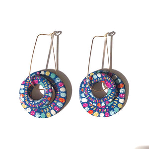 SPRINKLE Hoops on 14K Gold Teardrop Wire (Blue)