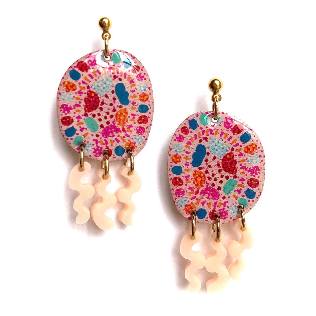 SPRINKLE Squiggly Dangles in Coral