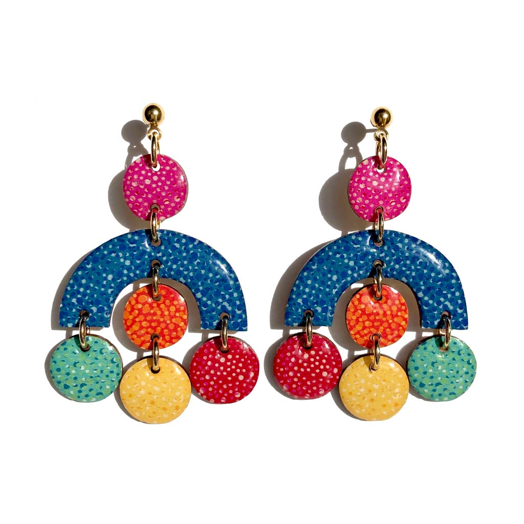SPECKLE Statement Dangles in Blue Multi